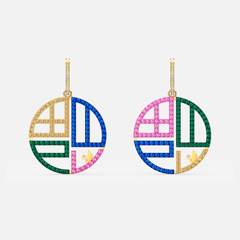 Full Blessing Fu Pierced Earrings, Dark multi-colored, Gold-tone plated