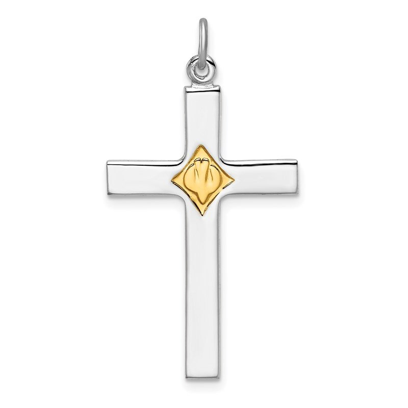 Quality Gold Sterling Silver Rhodium-plated Gold Tone Dove & Cross Pendant