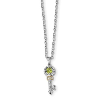 Sterling Silver & 14K Rhodium Plated Peridot and Diamond Key Necklace