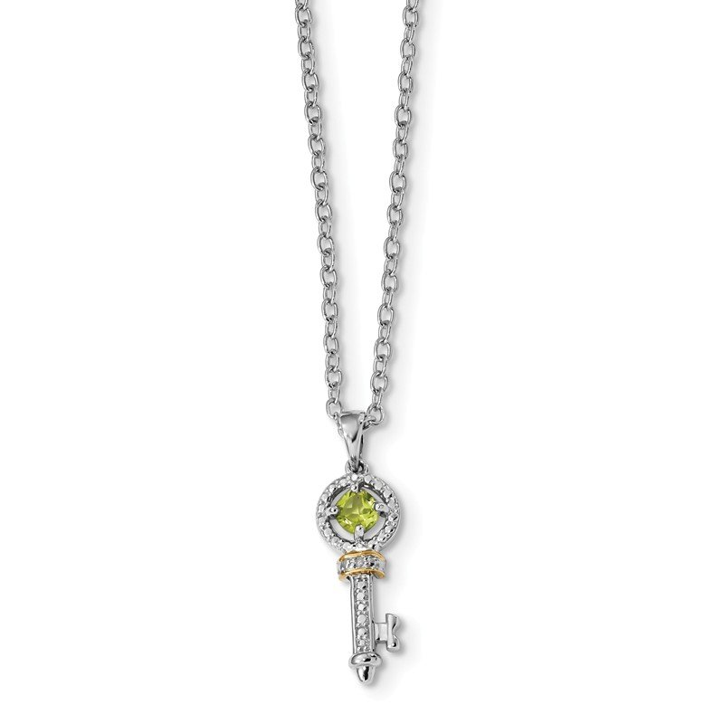 Quality Gold Sterling Silver & 14K Rhodium Plated Peridot and Diamond Key Necklace