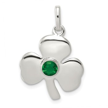Sterling Silver Clover with Green Glass Charm