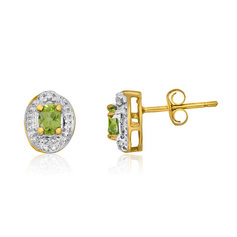 Color Merchants 14k Yellow Gold Peridot Earrings with Diamonds