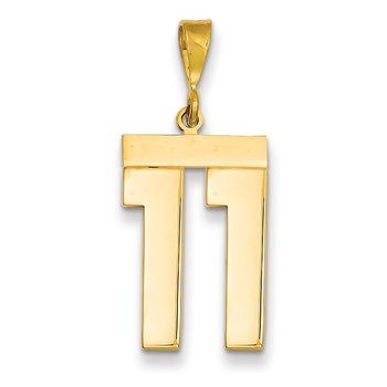 14k Large Polished Number 11 Charm