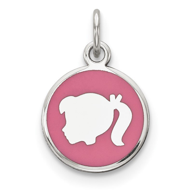 Quality Gold Sterling Silver Rhod-plate Pink Enamel Left Facing Girl Head Disc Charm