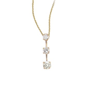 14k Yellow Gold 3 Stone  .50 ct  Diamond Drop Pendant