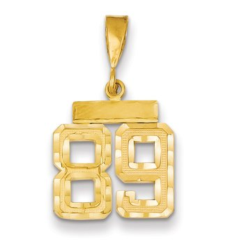 14k Small Diamond-cut Number 89 Charm