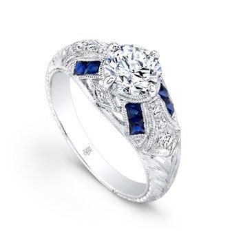 Vintage Inspired Bridal Ring with Sapphires