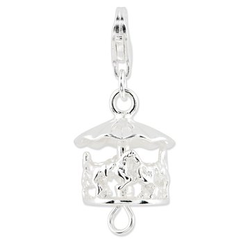 Sterling Silver Amore La Vita Rhodium-plated Moveable Carousel Charm