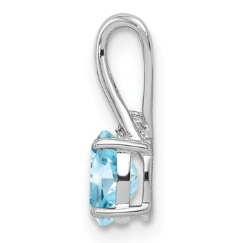 Sterling Silver Rhodium Plated Diamond & Sky Blue Topaz Oval Pendant