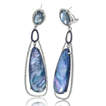 Lapis and Diamond Dangle Earrings