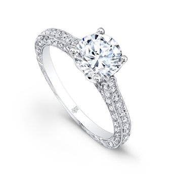 Vintage Pave Diamond Engagement Semi