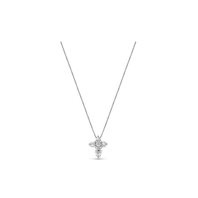 KC Designs Diamond Cross Necklace in 14k White Gold with 6 Diamonds weighing .15ct tw.