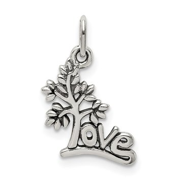 Sterling Silver Antique LOVE Tree Charm