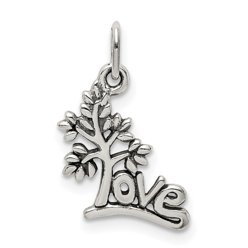 Quality Gold Sterling Silver Antique LOVE Tree Charm