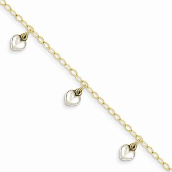 14k Two-tone Polished Dangle Heart Baby Bracelet