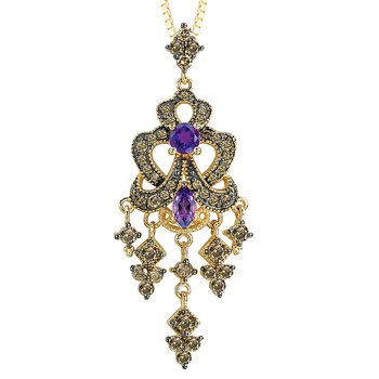 14ky Brown Diamonds and  Amethyst Topaz Pendant