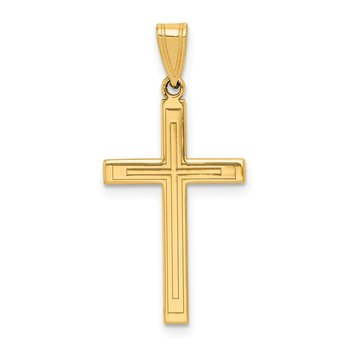 14k Solid Laser Etched Cross Pendant