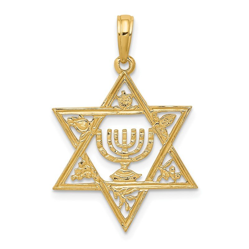 Quality Gold 14K Star of David w/Menorah Pendant