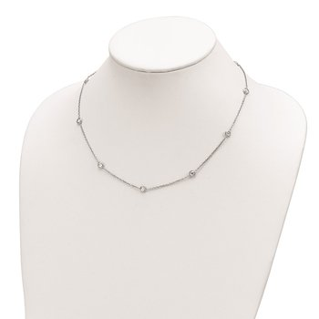 Sterling Silver Rhodium-plated 9-Station CZ Polished Necklace