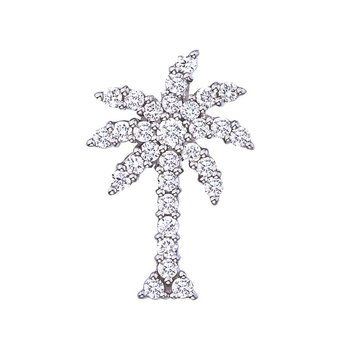 Large Palm Tree Pendant With Diamonds &Ndash; 18K White Gold