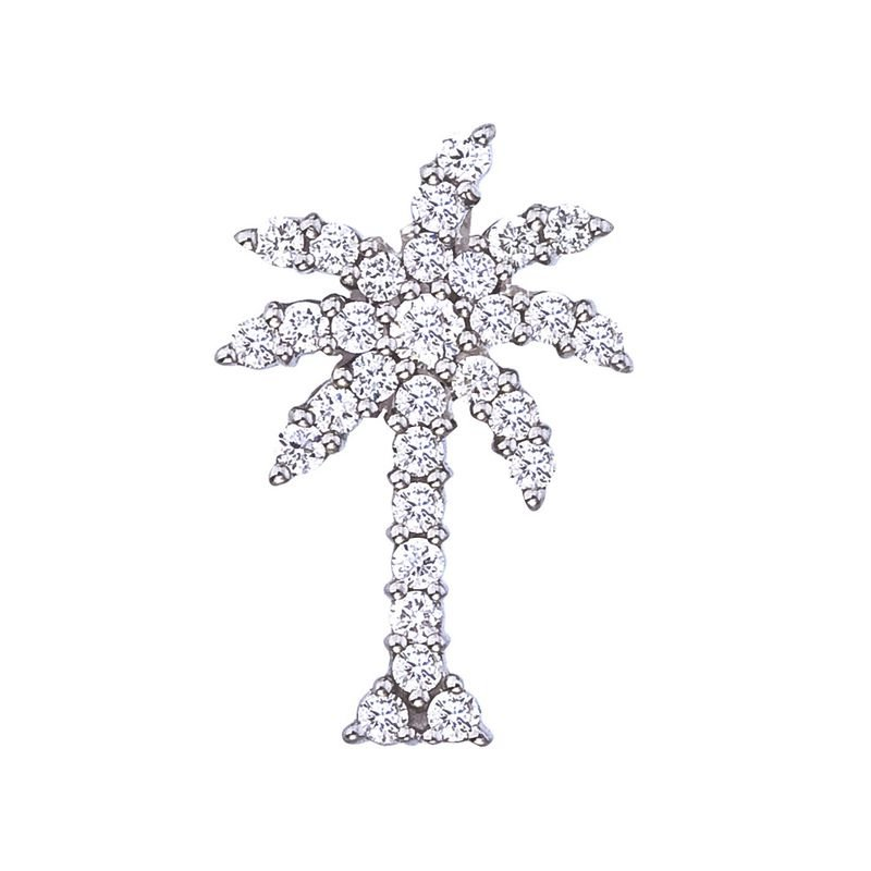 Roberto Coin Large Palm Tree Pendant With Diamonds &Ndash; 18K White Gold