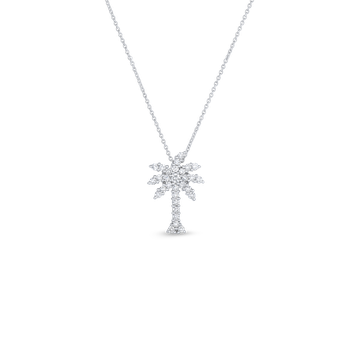 18KT GOLD LARGE PALM TREE PENDANT WITH DIAMONDS