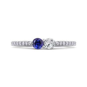 10K White Gold 1/5 Ct Diamond with 1/2 Ct White & Blue Sapphire Fashion Ring
