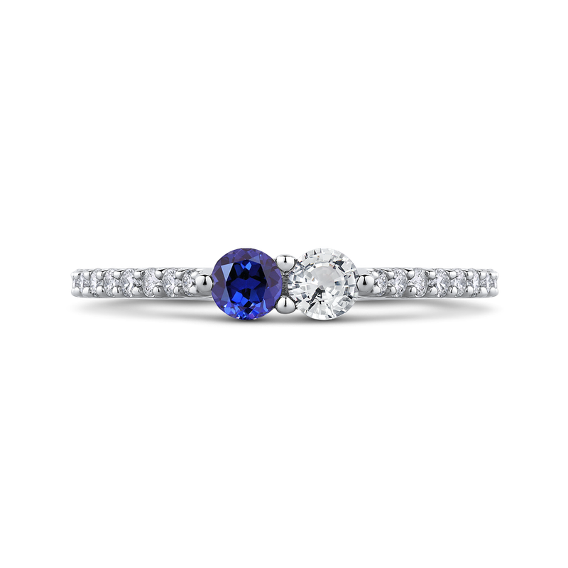 Essentials 10K White Gold 1/5 Ct Diamond with 1/2 Ct White & Blue Sapphire Fashion Ring