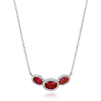 Always On My Mind Ruby and Diamond Three-Stone Oval Pendant