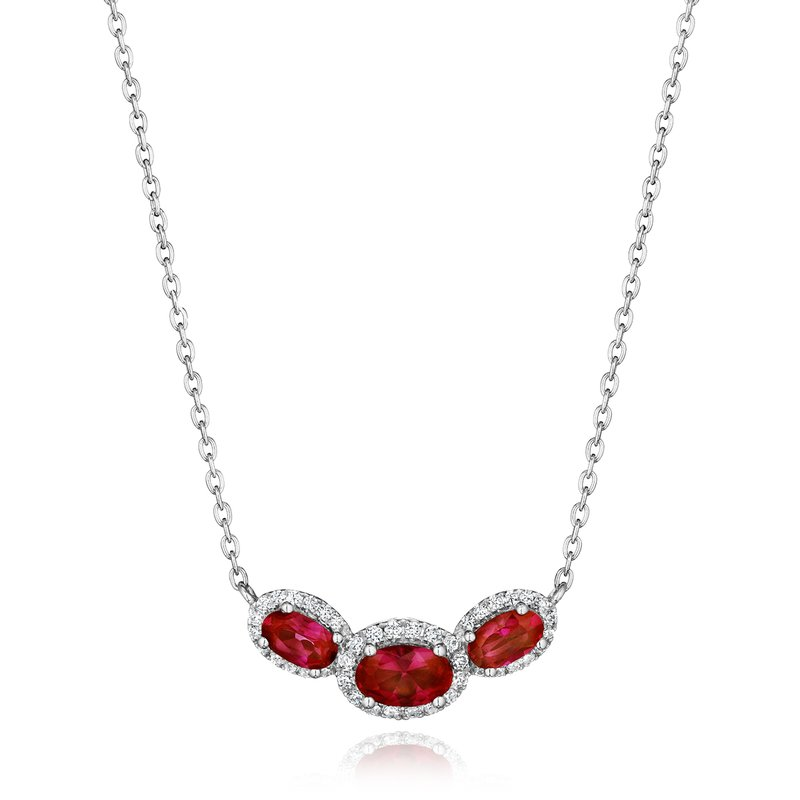 Fana Always On My Mind Ruby and Diamond Three-Stone Oval Pendant