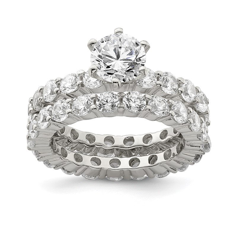 Lester Martin Online Collection Sterling Silver CZ 2 Piece Wedding Set Ring