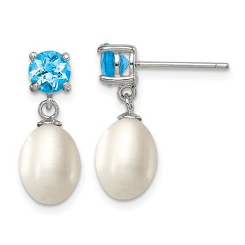 Sterling Silver RH Blue Topaz 7-8mm FW Cult Pearl Teardrop Earrings