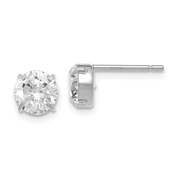 Leslies 14k White Gold CZ Stud 6.0mm Earrings