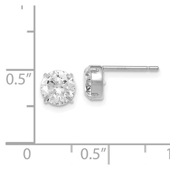 Leslie's 14K White Gold CZ Stud 6.0mm Earrings