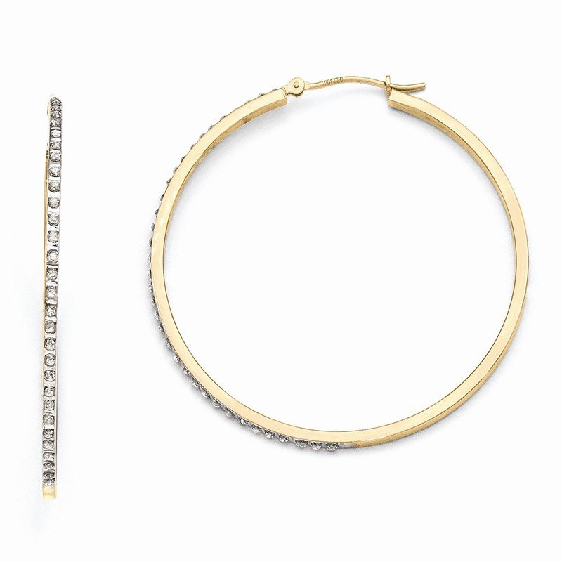 Quality Gold 14k Diamond Fascination Large Round Hinged Hoop Earrings