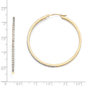 14k Diamond Fascination Large Round Hinged Hoop Earrings