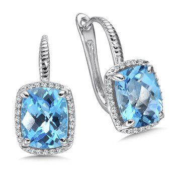 Blue Topaz and Diamond Earrings in 14K White Gold
