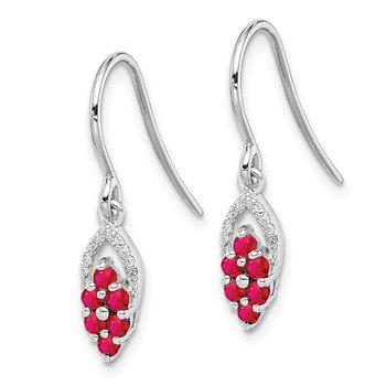 Sterling Silver Rhodium Diamond & Glass Fill Ruby Shepherd Hook Earrings