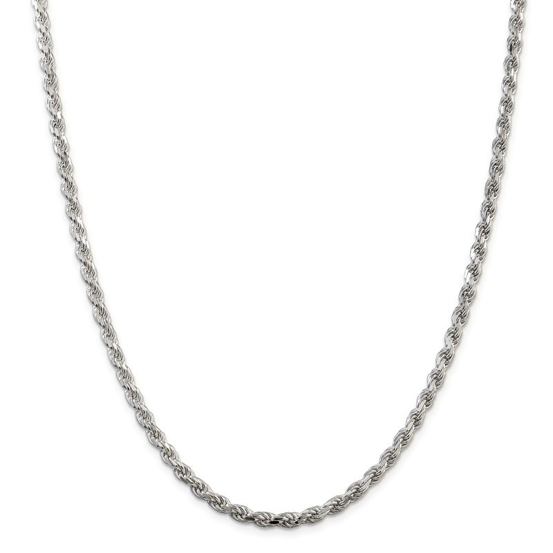 Quality Gold Sterling Silver 4.25mm Diamond-cut Rope Chain
