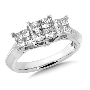 Invisible set Princess cut Diamond Ring in 14k White Gold (1 ct. tw.)