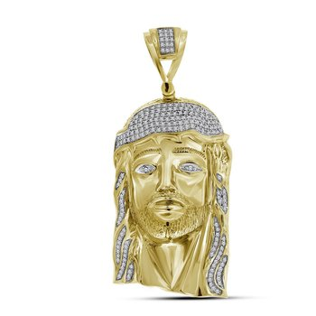 10kt Yellow Gold Mens Round Diamond Jesus Christ Messiah Head Charm Pendant 7/8 Cttw