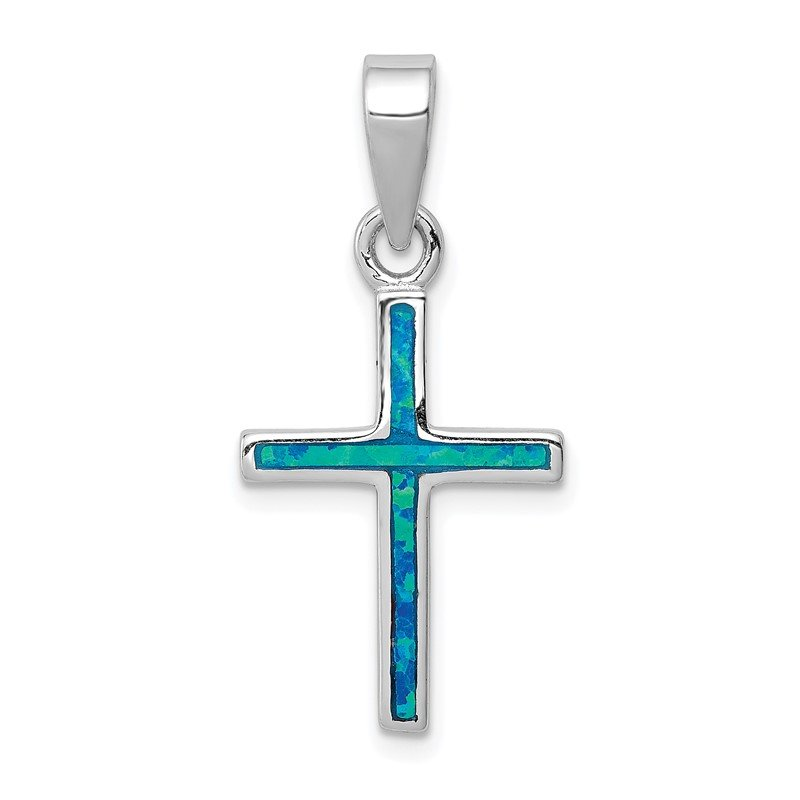 Fine Jewelry by JBD Sterling Silver Blue Inlay Created Opal Thin Cross Pendant