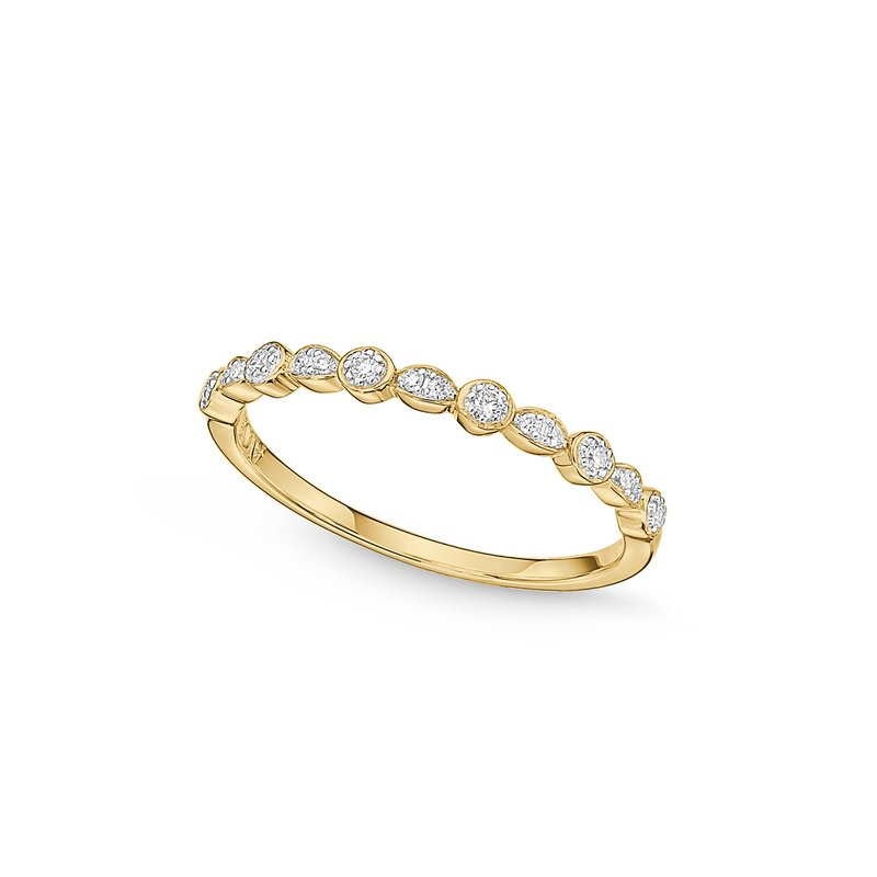 ALOR Catalog Rounded Motif Yellow Gold & Diamond Stacking Ring