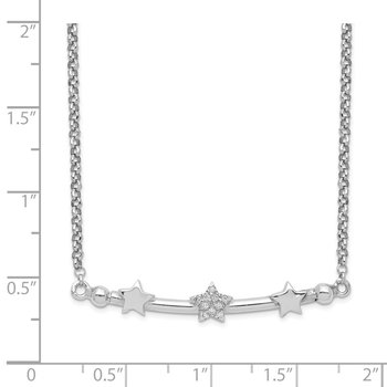 Sterling Silver Rhodium-plated CZ 3-Star Bar w/1.5in ext. Necklace