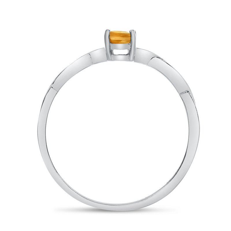 Color Merchants 14k White Gold Oval Citrine Ring