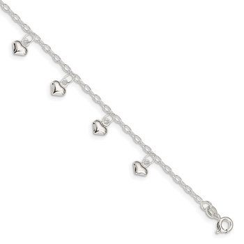 Sterling Silver 9inch Plus 1in Ext Polished Puffed Heart Anklet