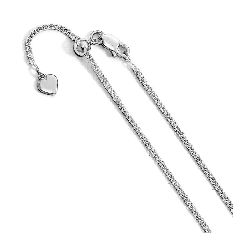 Leslie's Leslie's Sterling Silver Diamond-cut 11in Adjustable Wheat Chain