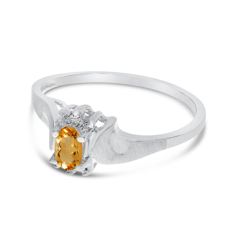 Color Merchants 10k White Gold Oval Citrine And Diamond Satin Finish Ring