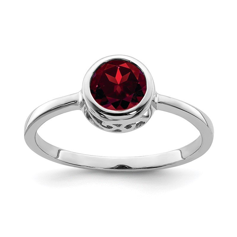 Quality Gold Sterling Silver Rhodium-plated Polished Garnet Round Ring