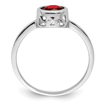 Sterling Silver Rhodium-plated Polished Garnet Round Ring